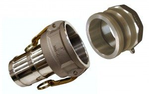 Cam and groove hose couplings