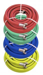 Jackhammer air Hose Assembly in red, blue, green and yellow